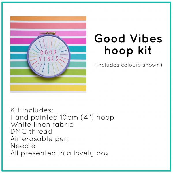 Good Vibes hoop kit   Hello! Hooray!