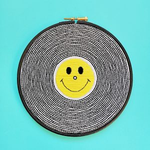 Long Player embroidery hoop kit from Colourful Fun Embroidery | Hello! Hooray!