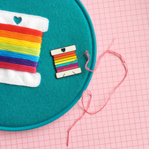 Rainbow bobbin needle minder | Hello! Hooray!