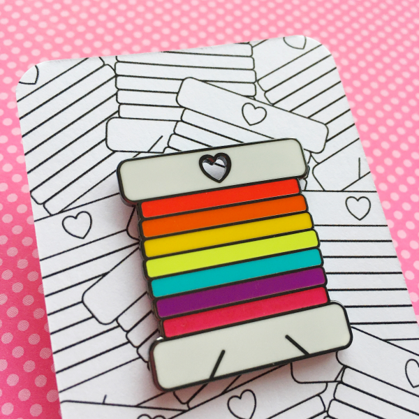 Rainbow bobbin pin by Hello Treacle and Hello! Hooray!