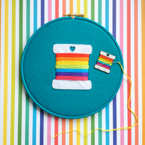 Rainbow bobbin pin holder hoop kit plus needle minder | Hello! Hooray!