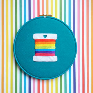Rainbow bobbin pin hoop kit | Hello! Hooray!