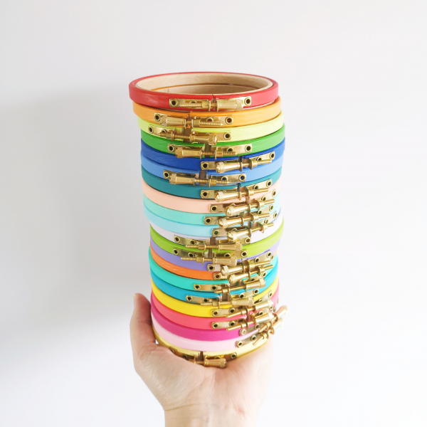 Hand painted embroidery hoops by Hello! Hooray!