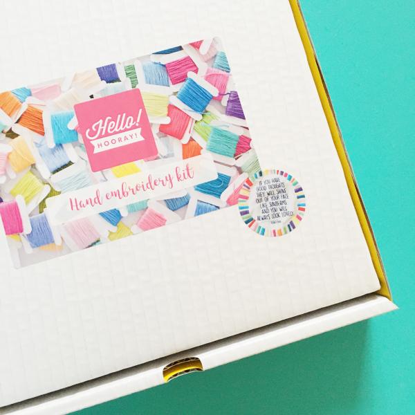Sunbeams banner hand embroidery kit box | Hello! Hooray!