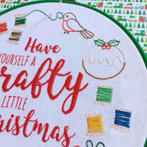 Have Yourself a Crafty Little Christmas hoop details | Hello! Hooray!