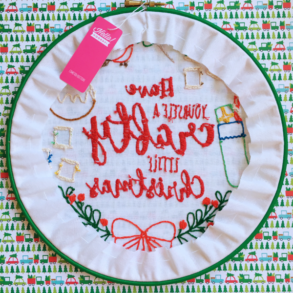 Have Yourself a Crafty Little Christmas hoop reverse | Hello! Hooray!