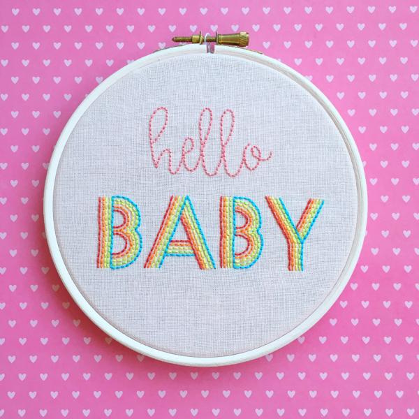 Hello baby pink embroidered hoop | Hello! Hooray!