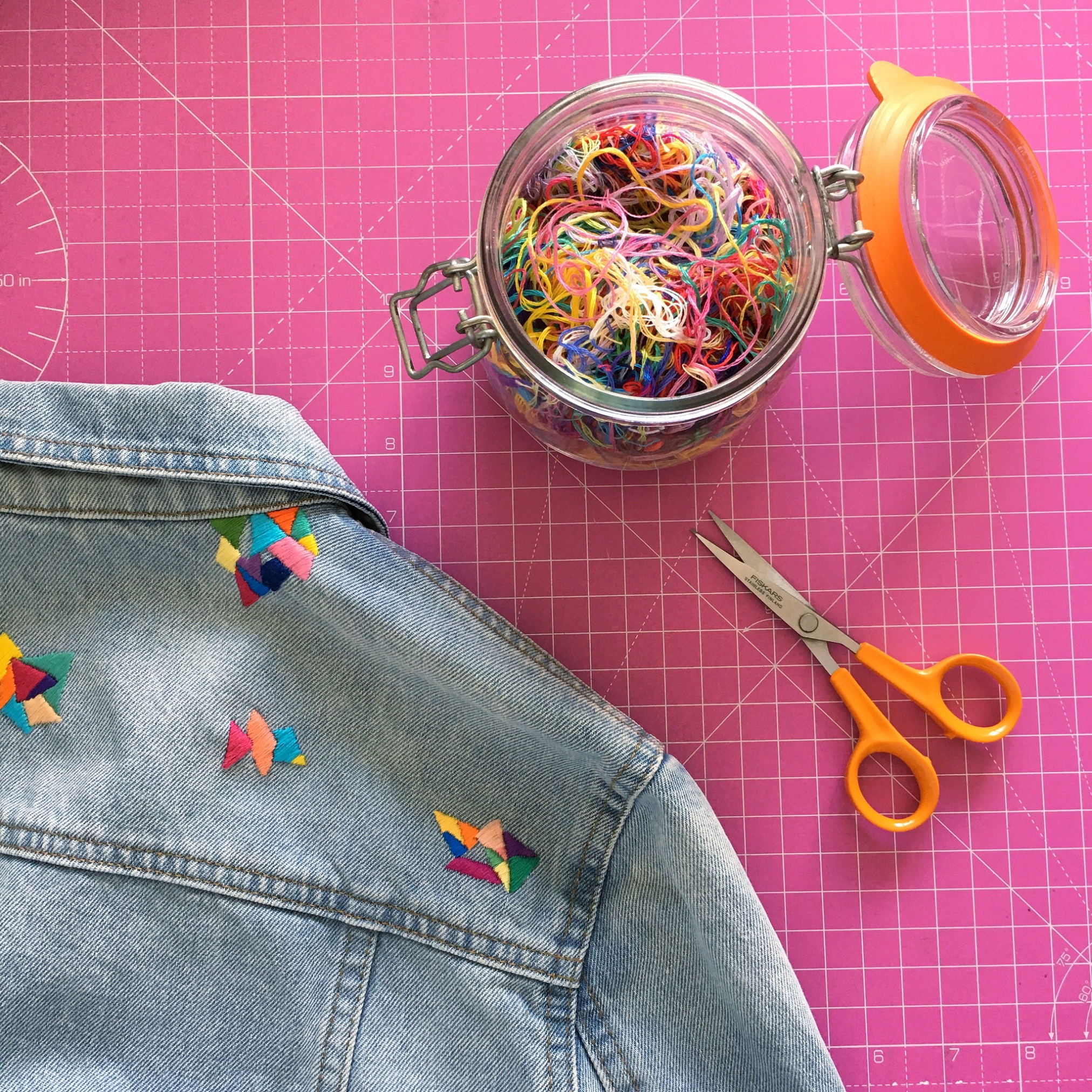 Customised denim jacket from Colourful Fun Embroidery | Hello! Hooray!