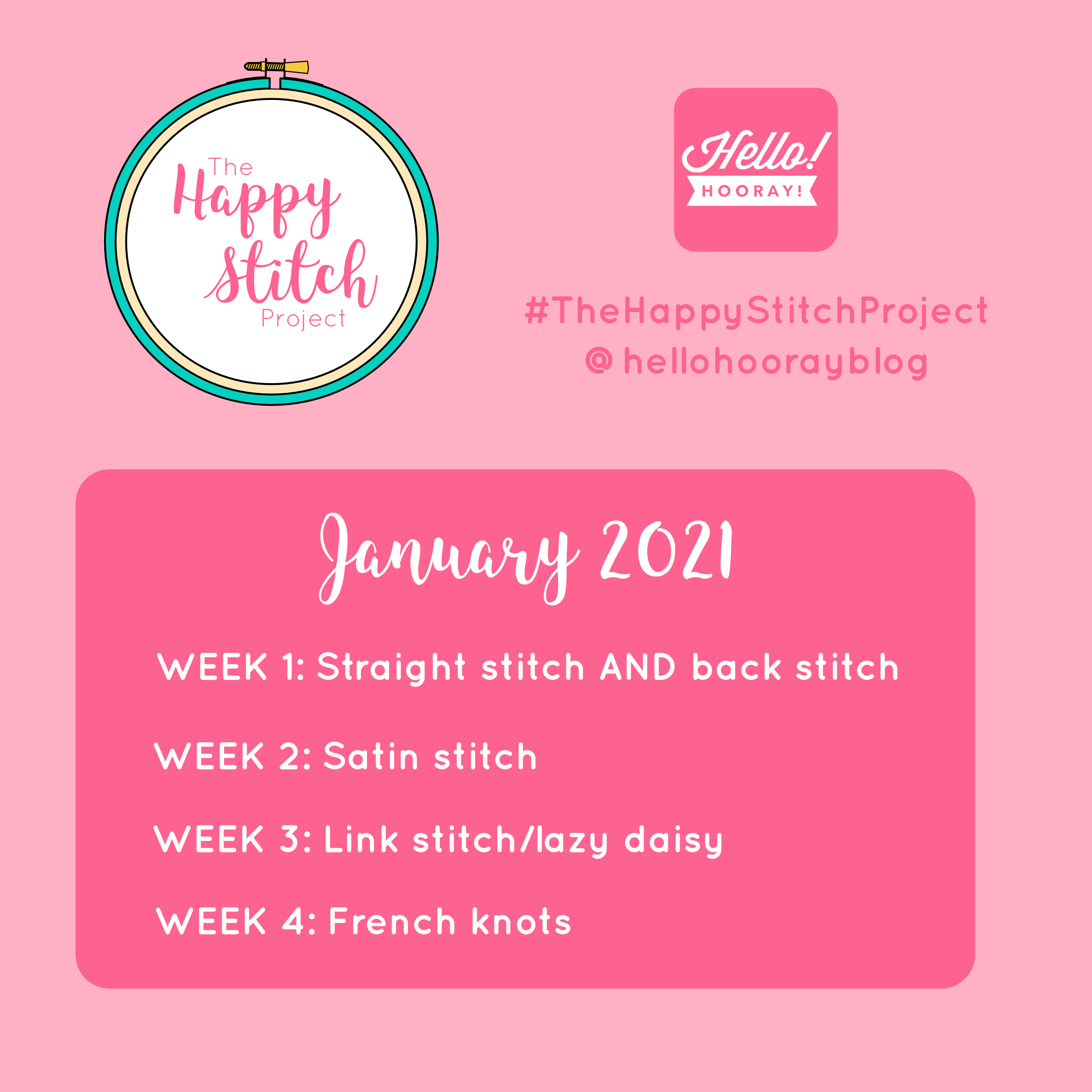 The Happy Stitch Project January | Hello! Hooray!