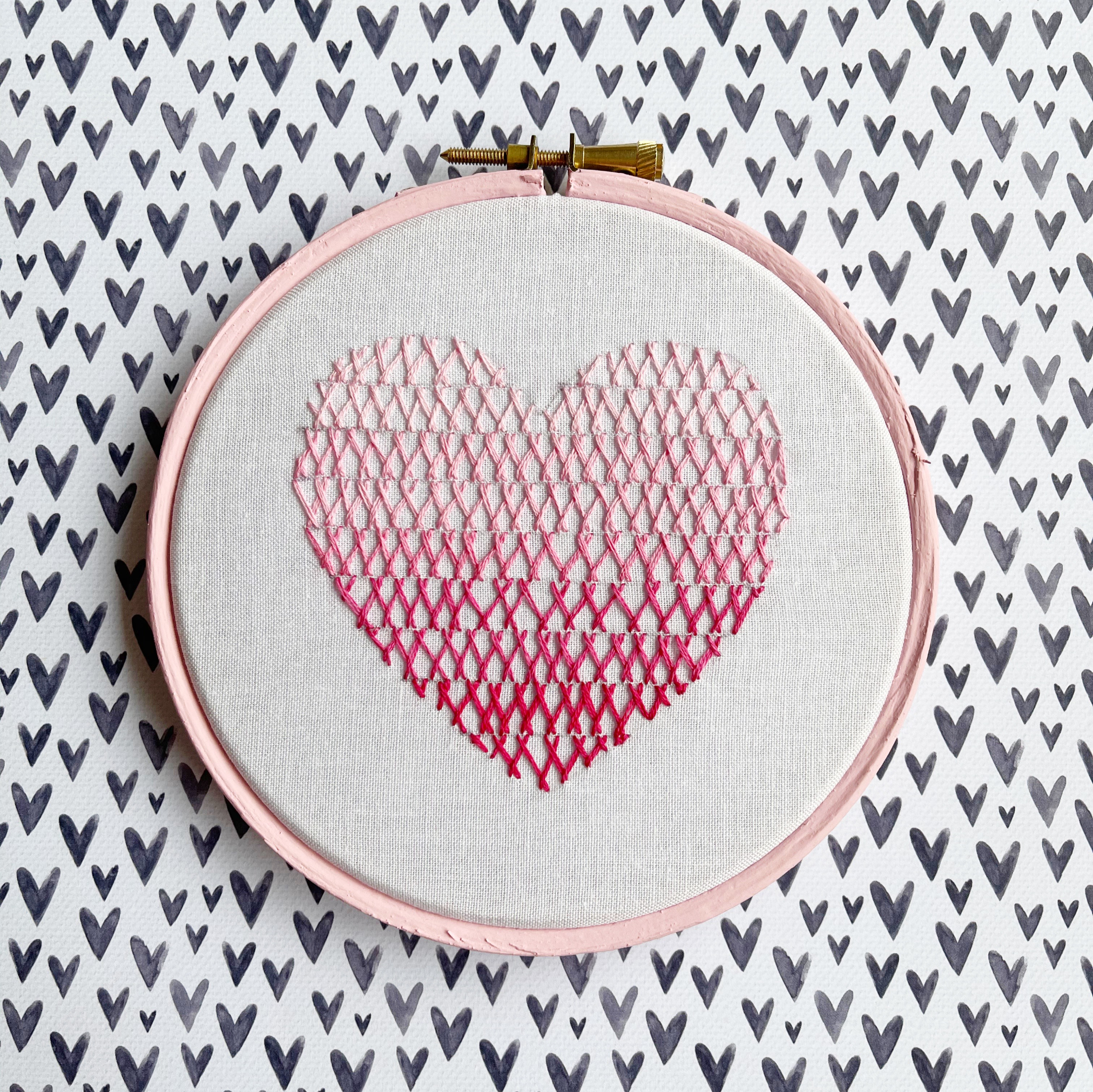 Herringbone stitch ombre heart hoop   Hello! Hooray!