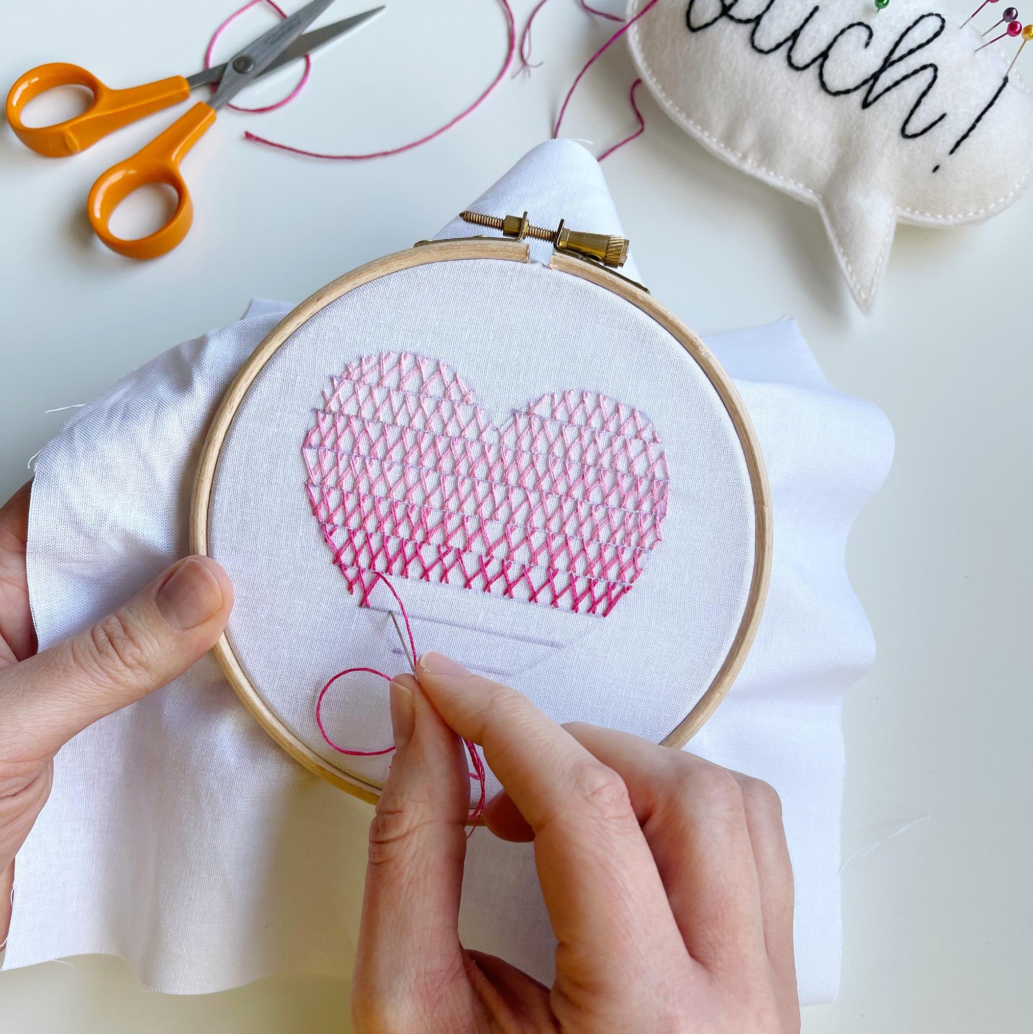 Herringbone stitch ombre heart hoop progress   Hello! Hooray!