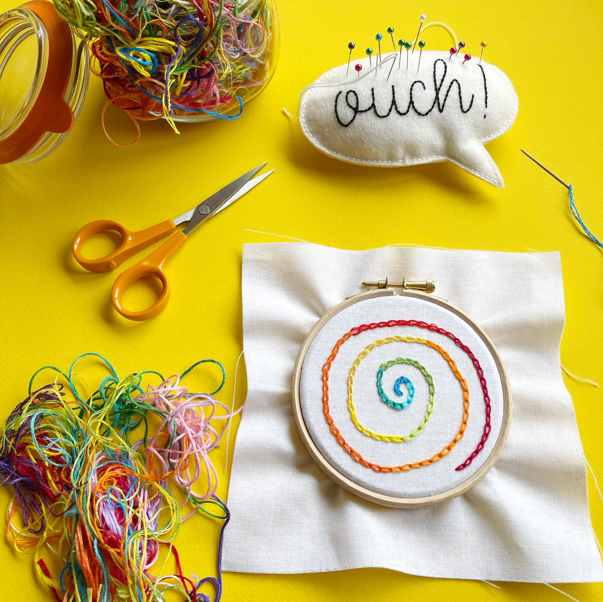 Chain stitch spiral hoop | Hello! Hooray!
