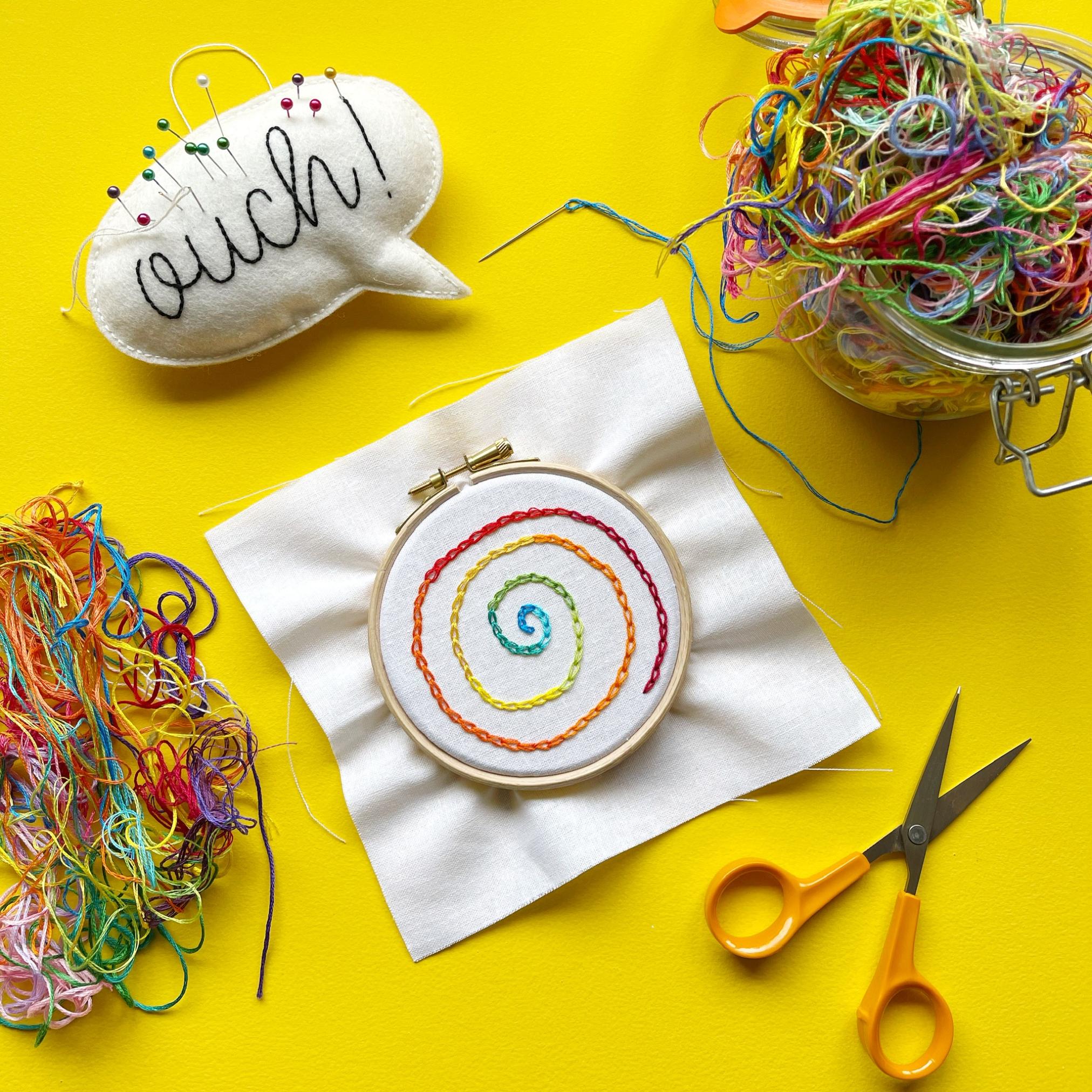 Rainbow chain stitch flatlay | Hello! Hooray!