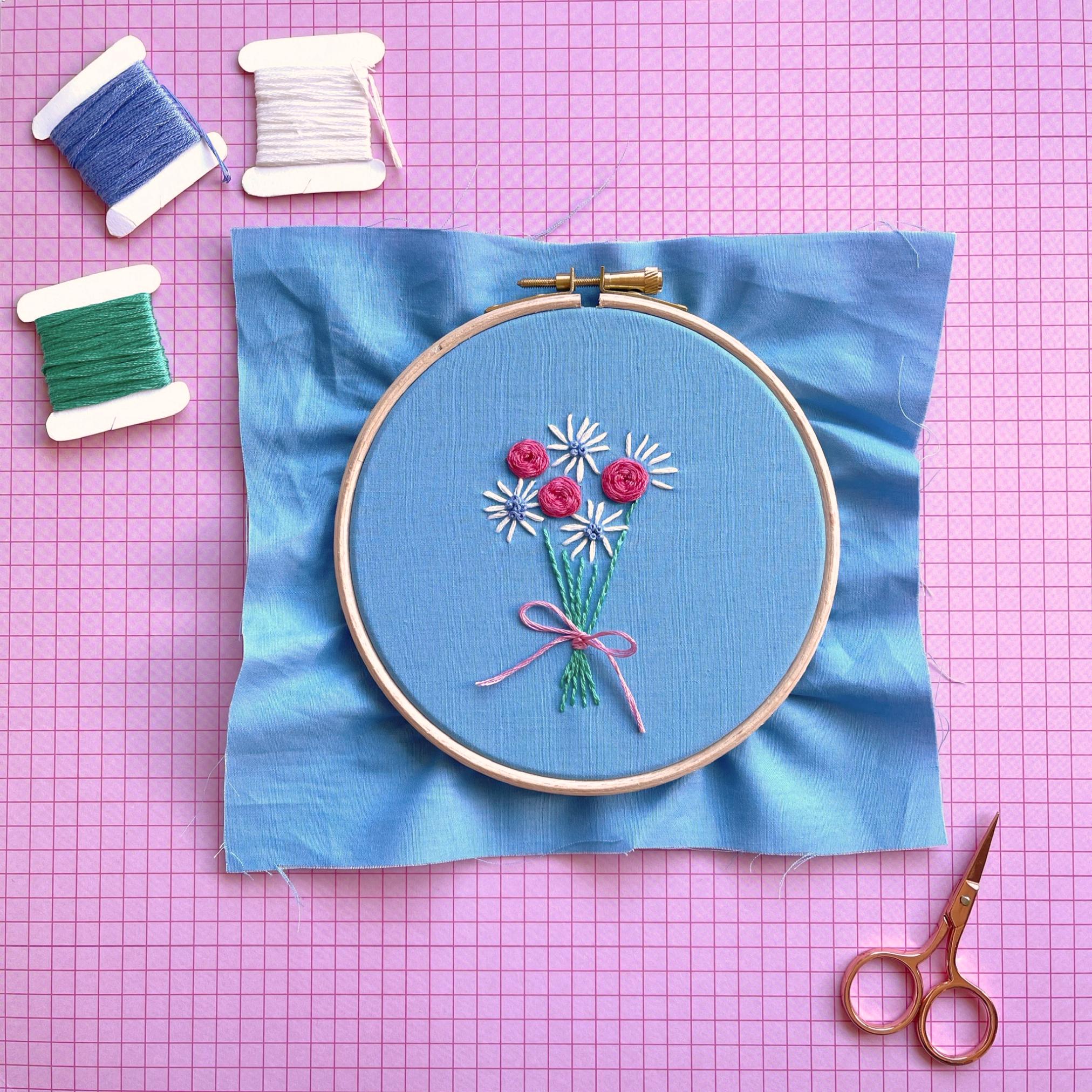 Woven rose bouquet hoop flatlay | Hello! Hooray!
