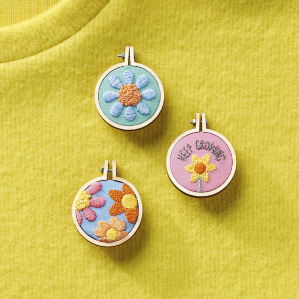 Love Embroidery issue 13 Positive Pin Badges by Clare Albans | Hello! Hooray!