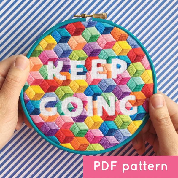 Keep Going hoop digital pattern | Hello! Hooray!