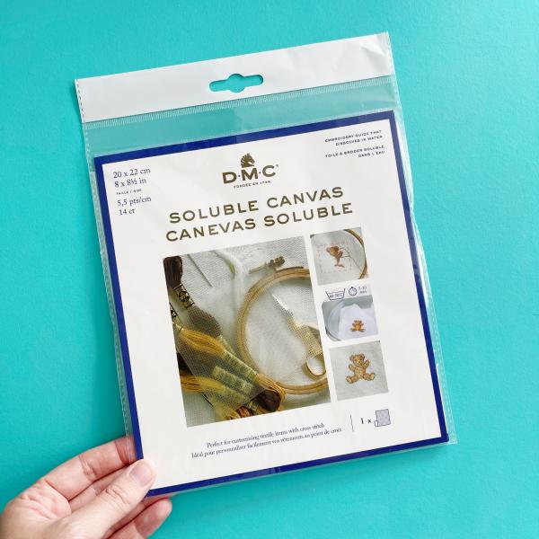 DMC 14 count soluble canvas   Hello! Hooray!